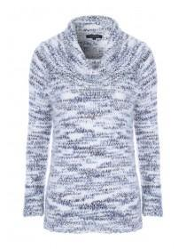 Womens Blue and White Feather Knit Jumper