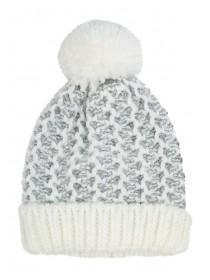 Womens White Waffle Knit Pom Beanie Hat