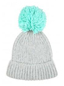 Womens Grey Pom Hat