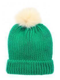 Womens Green Pom Hat