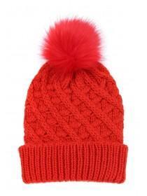 Womens Red Waffle Pom Beanie Hat