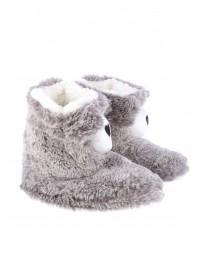 Womens Grey Novelty Bear Slipper Boots