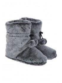 Womens Charcoal Slouch Slipper Boots