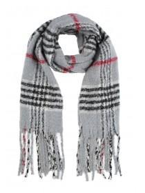 Womens Grey Check Oversized Scarf