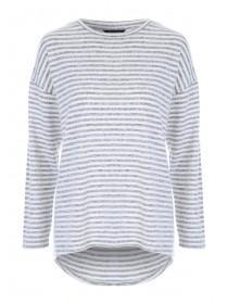 Womens Grey and White Stripe Top