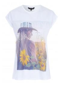 Womens White Graphic T-Shirt
