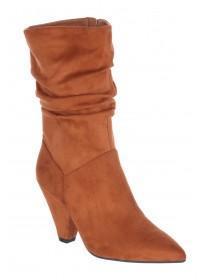 Womens Tan Slouch Calf Length Boots