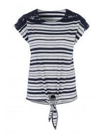 Womens Navy Stripe Lace Shoulder T-Shirt