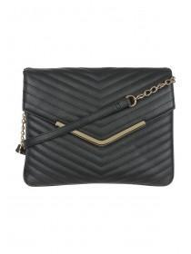 Womens Black Quilted Across Body Bag