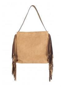 Womens Tan Fringe Side Shoulder Bag