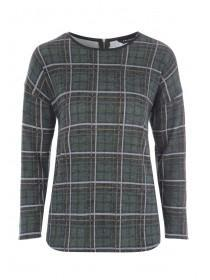 Womens Grey Check Sweat Top