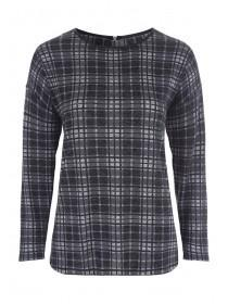 Womens Charcoal Check Sweat Top