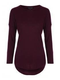 Womens Burgundy Ribbed Long Sleeve Top