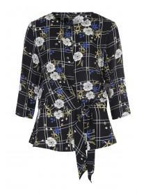 Womens Black Floral Check Twist Top
