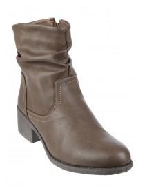 Womens Tan Slouch Biker Boots
