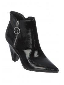 Womens Black Patent Ankle Boots