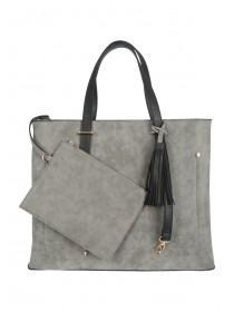 Womens Grey Adjustable Strap Tote Bag