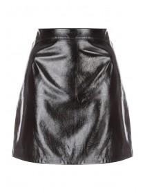 Womens Black Vinyl Mini Skirt