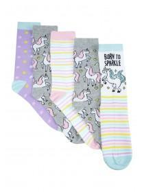 Womens 5pk Grey Unicorn Socks