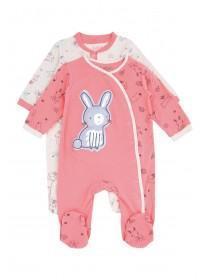Baby Girls 2pk Pink Bunny Sleepsuits