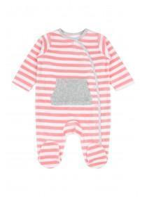 Baby Girls Pink Stripe Velour Sleepsuit