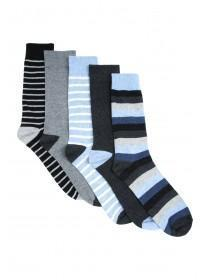 Mens 5pk Blue Stripe Socks
