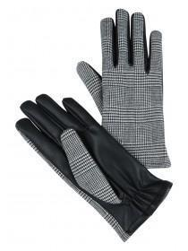 Womens Grey Check PU Gloves