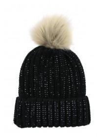 Womens Black Gem Beanie Hat