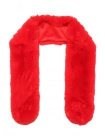 Womens Red Faux Fur Stole Scarf