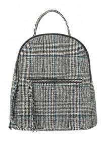 Womens Grey Check Rucksack