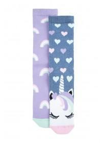 Womens 2pk Purple Unicorn Thermal Socks