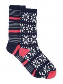 Womens 2pk Navy Fairisle Thermal Socks