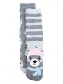 Womens 2pk Grey Bear Thermal Socks