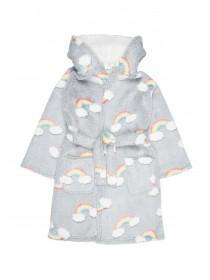 Girls Grey Rainbow Dressing Gown