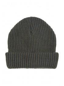 Mens Khaki Ribbed Beanie Hat