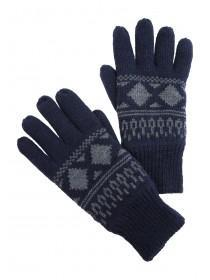 Mens Navy Fairisle Thinsulate Gloves
