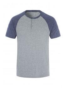 Mens Grey Grandad Collar T-Shirt