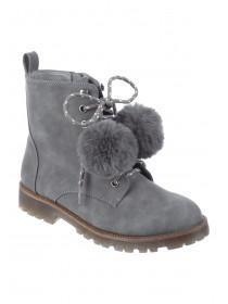 Older Girls Grey Pom Boots