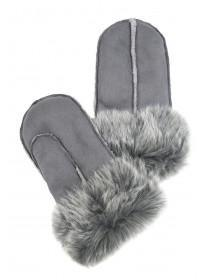 Womens Grey Shearling Mittens