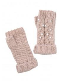 Womens Pink Pearl Cut Off Mittens