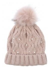 Womens Pale Pink Pearl Beanie Hat