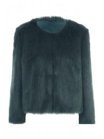 Womens Dark Green Faux Fur Coat