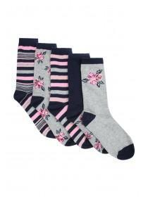 Womens 5pk Navy Floral Socks