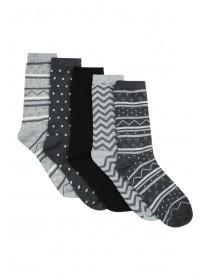 Womens 5pk Black Aztec Socks