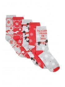 Womens 5pk Red Christmas Socks