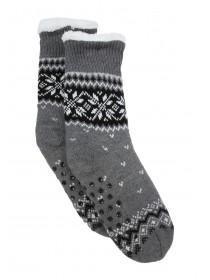 Mens 1pk Grey Fairisle Slipper Socks