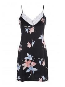 Womens Black Floral Satin Chemise