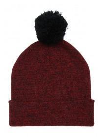Mens Red Marl Pom Beanie Hat