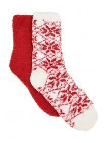 Womens 2pk Red Fluffy Socks
