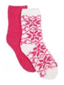 Girls 2pk Pink Fairisle Fluffy Socks